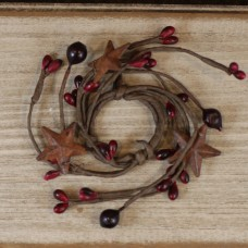 "1"" Red/Burgundy Pip Berry Candle Ring w/ Rusty Stars"