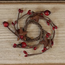 "1"" Red Pip Berry Candle Ring w/ Rusty Stars"